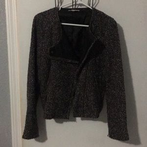 Tweed jacket with leather lapel
